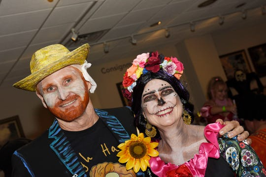 Joel and Amy Zwemer, as Vincent van Gogh and Señora Día de Muertos, at the Backus Boo Ball on Oct. 26, 2019 in downtown Fort Pierce.