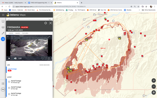 The Fire Integrated Real-time Intelligence System was designed to quickly get maps, videos and fire progression modeling to commanders on the ground. This is an image from the Maria Fire.