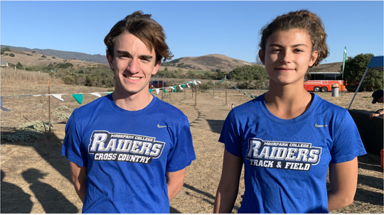 Moorpark College freshman Drake Nienow, left, and sophomore Sophia Cortina won the Western State Conference men's and women's cross country individual championships in San Luis Obispo on Oct. 25.