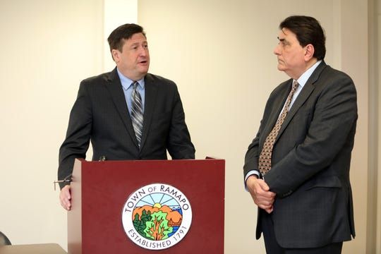 Ramapo Supervisor Michael Specht, left, and Finance Director John Lynch announce that the town's budget deficit will be cut in half at the end of 2019, at Ramapo Town Hall Nov. 1, 2019.