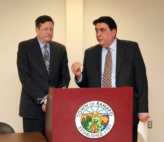 Ramapo Finance Director John Lynch, right, and Supervisor Michael Specht announce that the town's budget deficit will be cut in half at the end of 2019, at Ramapo Town Hall Nov. 1, 2019.