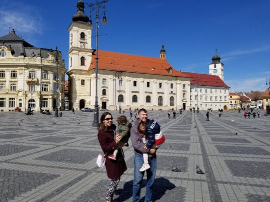 The Najemy family in Romania this past March.