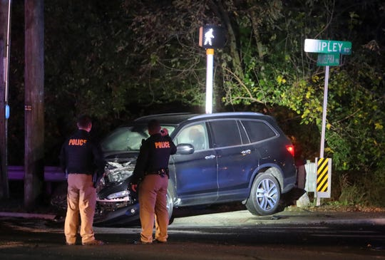 New Castle County Police investigate after a crash involving a stolen vehicle at Philadelphia Pike and Shipley Road in Penny Hill Thursday evening.