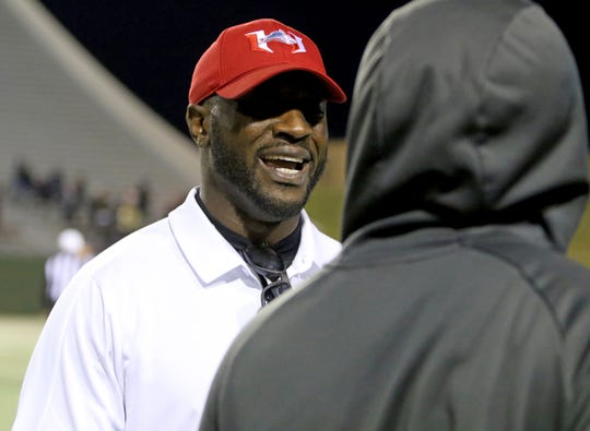 Hirschi head football coach Antonio Wiley talks with a coach in the game against Springtown Thursday, Oct. 31, 2019, at Memorial Stadium.