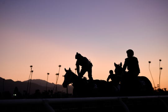 Horses work out in the early morning at Santa Anita Park. In the Grade 3, $100,000 Robert B. Lewis Stakes there on Saturday, THOUSAND WORDS delivered trainer Bob Baffert his 3,000th official win in North America.