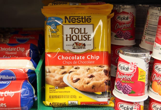 A package of Nestle Toll House chocolate chip cookies is displayed on a shelf at Bryan's Fine Foods June 19, 2009 in San Francisco, California. Nestle is voluntarily recalling its Toll House refrigerated cookie dough products.