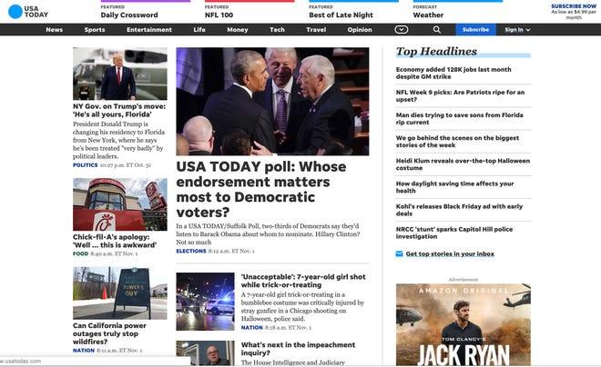 USATODAY.com website redesign launched Nov. 1, 2019.