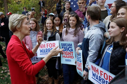 Democratic presidential candidate Sen. Elizabeth Warren, D-Mass., speaks with area high school students at a campaign event on the campus of Dartmouth College, Thursday, Oct. 24, 2019, in Hanover, N.H. (AP Photo/Elise Amendola)