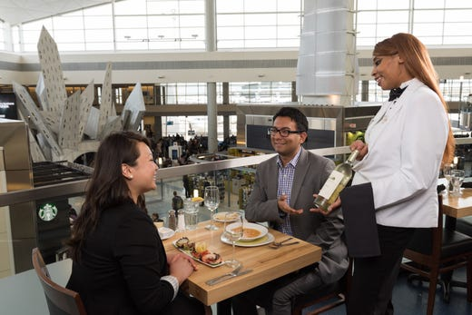 """<strong>EAT at DFW Airport </strong><br /> <a href=""""https://www.dfwairport.com/dine/"""">Dining options at DFW Airport</a> can be searched by terminal and type on the DFW Airport mobile app or the DFW Website.<br /> <br /> <strong>Pre-ordered meals: </strong>Passengers may also order in advance from more than 50 airport restaurants for quick pick-up through the <a href=""""https://dfw.orderwithgrab.com/Stores/"""">Grab app</a>.<br /> <br /> <strong>So long, straws:</strong> DFW began phasing out plastic drinking straws in September 2019.&nbsp;<br /> <br /> Dining highlights include:<br /> <strong>Terminal A:</strong> Lorena Garcia Tapa Y Cocina, Pappadeaux Seafood Kitchen, Pappasito&rsquo;s Cantina, Salt Lick Bar-B-Que<br /> <strong>Terminal B: </strong>Cantina Laredo,<strong> </strong>Cousin&rsquo;s Bar-B-Q, Hickory (BBQ and burgers), Smashburger<br /> <strong>Terminal C:</strong> Pappadeaux Seafood Kitchen, Pappasito&rsquo;s Cantina, Whisk &amp; Bowl (coffee, breakfast and pastries)<br /> <strong>Terminal D</strong>: Whitetail Bistro by Kent Rathbun (French cuisine with Texas accent), Italian Kitchen by Wolfgang Puck, CRU Food and Wine Bar (stone-fired pizza), Rio Mambo, Grand Met/Grand Met Lounge (before security), Stampede 66 Express, Shinsei<br /> <strong>Terminal E</strong>: Love Shack (burgers), Blue Mesa Taco &amp; Tequila Bar, Cereality (yes, cereals!), Dickey&rsquo;s Barbecue Pit, Drew Pearson&rsquo;s Sports 88), Sonny Bryan&rsquo;s Smokehouse, Whataburger."""