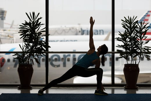 """<strong>DFW Yoga spaces</strong><br /> DFW offers travelers two <a href=""""https://www.dfwairport.com/dfwyogastudio/index.php"""">yoga studios</a> to stretch and relax in Terminal B, by gates D40/41 and Terminal E, by Gate E31.&nbsp; These yoga spaces have complimentary practice mats, exercise balls and stretch bands and 20-minute instructional videos to help you loosen up before boarding."""