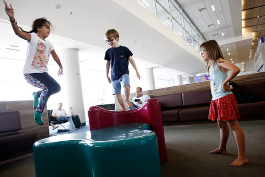 """<strong>Family-friendly facilities at DFW<em> </em><br /> Play area:&nbsp;</strong>The McDonald&rsquo;s Play Area&nbsp;(In Terminal D, near Gate D8), this area has foam soft-play sculptures for young kids and nearby seating and charging outlets for their parents.<br /> <br /> Kids may also enjoy looking at some of the <a href=""""https://www.dfwairport.com/art/index.php"""" target=""""_blank"""">artwork throughout DFW Airport</a> and riding the free Skylink around the airport.<br /> <br /> <strong>Nursing areas:</strong> These are located in Terminal A at Gate A18; Terminal B, at Gate B40; and Terminal E, by Gate E14."""