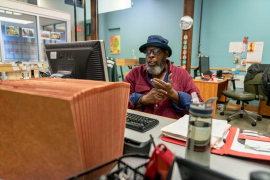 Leonard Edwards visits Bread for the City, a social service organization in Washington, D.C., where he can use WiFi rather than draining data from his limited cellphone plan.