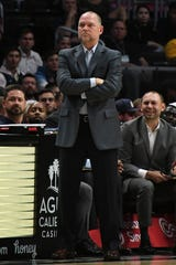 Denver Nuggets head coach Mike Malone looks on during the first half against the LA Clippers at Staples Center.