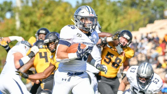 Monmouth running back Pete Guerriero scores on a 10-yard touchdown run in the first half against Kennesaw State at Fifth Third Bank Stadium in Kennesaw, Georgia on Nov. 2, 2019.