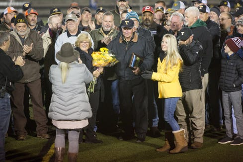 Former Tuscola head coach Doug Brooks was honored at halftime on Nov. 1, 2019, at the newly named Dough Brooks Field. He was coach from 1980-2002.