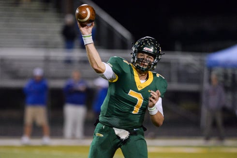 Reynolds's quarterback Eli Carr passes the ball in the game against West Henderson November 1, 2019. The Rockets won, 56-14.