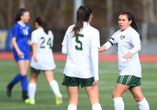 Vestal's Albana Berjasevic (5) and Alexia Michitti communicate during the first half of Saturday's Section 4 Class A final at Maine-Endwell. The Golden Bears won, 1-0 in double-overtime to extend their string of sectional titles to 10. Nov. 2, 2019.