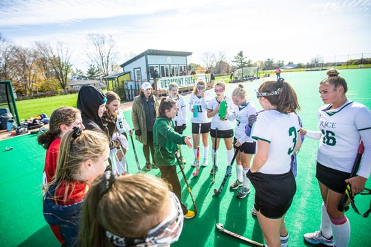 Rice coach Kelly McClintock instructs her players during a timeout in the first half of the Division I field hockey championship between Rice Memorial High School and Bellows Falls Union  High School at UVM's Moulton Winder Field in South Bulington on Saturday November 2 2019.