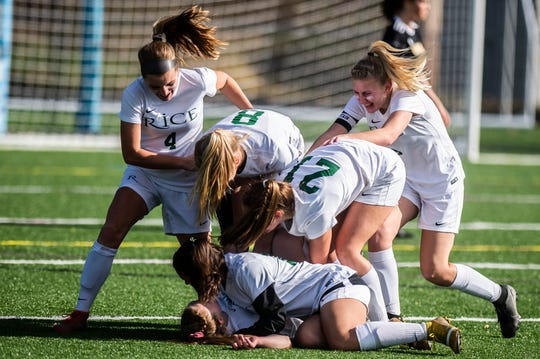 Rice celebrates a second goal during their girls soccer championship against Harwood on Saturday, Nov. 2, 2019, at South Burlington High School. Rice won, 2-1.
