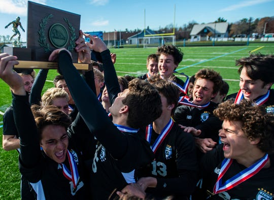 Stowe boys soccer celebrates after winning the Div. 2 Vermont boys soccer championship against Middlebury at South Burlington High School on Saturday, Nov. 2, 2019, Stowe won, 2-0.