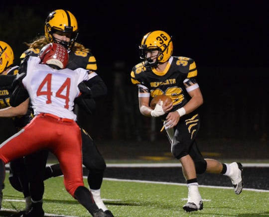 Paint Valley running back Lane Mettler carries the ball for Paint Valley during a 35-0 win over Westfall on Nov. 1, 2019 in Bainbridge, Ohio.