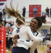 Mount Notre Dame player Ramei Jackson celebrates after MND's regional final win over Ursuline, Saturday, Nov. 2, 2019.