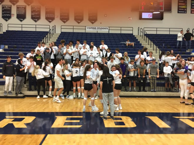 CHCA Eagles and their fans celebrate the school's first girls volleyball regional championship on Saturday, Nov. 2
