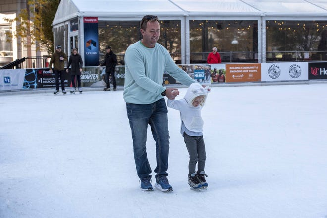 Today will be partly sunny, with a high near 57 – perfect for ice skating at Fountain Square. Here,  Karsten McElfresh of Charleston, South Carolina, gives his daughter Karlie some help with her balance.