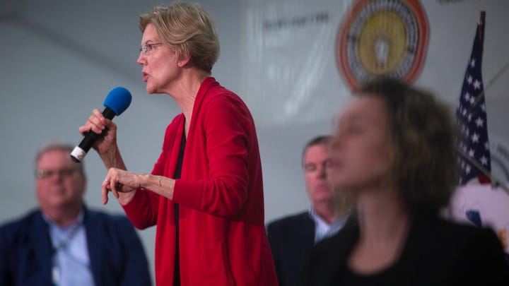 2020 presidential candidate and U.S. Sen. Elizabeth Warren (D-Mass.) speaks at the Finkenauer Fish Fry on Nov. 2, 2019 in Cedar Rapids.