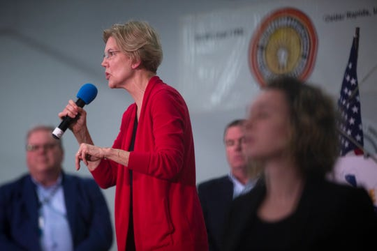 2020 presidential candidate and U.S. Sen. Elizabeth Warren (D-Mass.) speaks at the Finkenauer Fish Fry on Nov. 2, 2019 in Cedar Rapids.