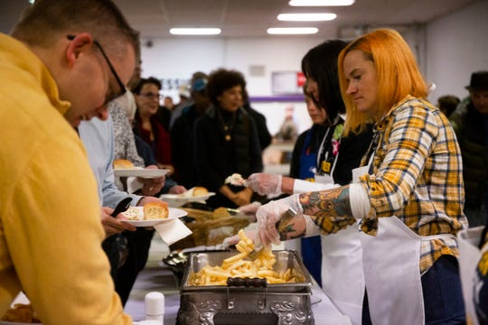 Fried walleye is served at the Finkenauer Fish Fry on Nov. 2, 2019 in Cedar Rapids.