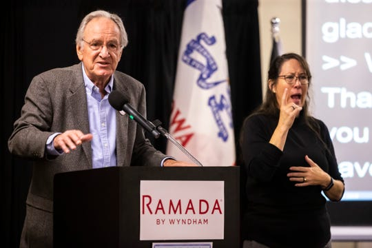 Former U.S. Sen. Tom Harkin, D-Iowa, speaks during the 2019 Accessibility, Inclusion, and Outreach Conference, hosted by Accessibility for All and the Linn County Medical Society, Saturday, Nov., 2, 2019, at the Ramada Hotel and Conference Center in Cedar Rapids, Iowa.