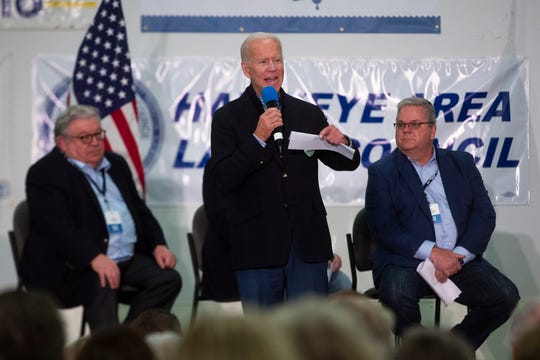Former Vice President and 2020 presidential candidate Joe Biden speaks at the Finkenauer Fish Fry on Nov. 2, 2019 in Cedar Rapids.