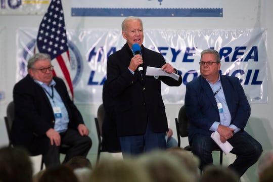 Former Vice President and 2020 presidential candidate Joe Biden speaks at the Finkenauer Fish Fry on Nov. 2, 2019 in Cedar Rapids.