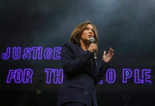 Democratic presidential candidate hopeful Kamala Harris speaks during the Liberty and Justice Celebration on Friday, Nov. 1, 2019, in Des Moines.