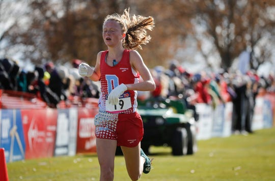 Dubuque Senior's Lillian Schmidt finishes in third place in Class 4A during the 2019 Iowa high school boys and girls state cross country meet on Saturday, Nov. 2, 2019, in Fort Dodge.