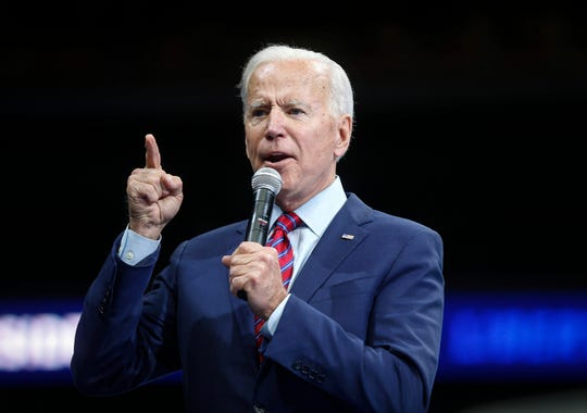 Former Vice President and current Democratic presidential candidate hopeful Joe Biden speaks during the Liberty and Justice Celebration on Friday, Nov. 1, 2019, in Des Moines.