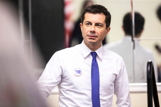 Democratic presidential candidate Pete Buttigieg, mayor of South Bend, Indiana, gets ready to step on stage during the 2019 Accessibility, Inclusion, and Outreach Conference, hosted by Accessibility for All and the Linn County Medical Society, Saturday, Nov., 2, 2019, at the Ramada Hotel and Conference Center in Cedar Rapids, Iowa.