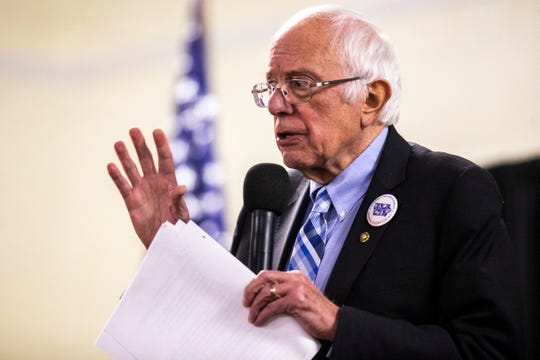 Democratic presidential candidate U.S. Sen. Bernie Sanders, I-Vermont, speaks during the 2019 Accessibility, Inclusion, and Outreach Conference, hosted by Accessibility for All and the Linn County Medical Society, Saturday, Nov., 2, 2019, at the Ramada Hotel and Conference Center in Cedar Rapids, Iowa.
