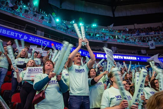 Supporters cheer for Democratic presidential candidate Sen. Elizabeth Warren during the Iowa Democratic Party's Liberty and Justice Celebration Friday, Nov. 1, 2019.