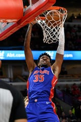 Detroit Pistons' Christian Wood dunks during the first half of the team's NBA basketball game against the Chicago Bulls on Friday, Nov. 1, 2019, in Chicago.