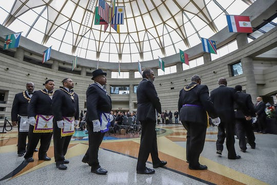 The Most Worshipful Prince Hall Grand Lodge of Michigan holds a second ceremony, during the public viewing of former U.S. Rep. John Conyers, the longest-serving African American member of Congress, at the Charles H. Wright Museum of African American History in Detroit on Saturday, Nov. 2, 2019.