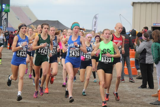 The lead pack rounds the first turn in the girls' state cross-country championship Division 2 race at Michigan International Speedway.