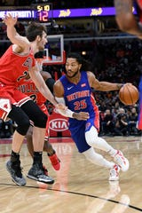 Pistons guard Derrick Rose drives against Bulls center Luke Kornet (2) during the first half of the Pistons' 112-106 loss on Friday, Nov. 1, 2019, in Chicago.