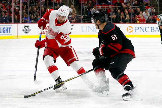 Red Wings forward Taro Hirose and the Carolina Hurricanes' Jake Gardiner vie for the puck during the third period of the Wings' 7-3 loss on Friday, Nov. 2. 2019, in Raleigh, N.C.