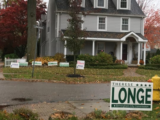 The campaign sign for a challenger competes with those of three incumbents and one challenger across the street in Birmingham a few days before the city election on Nov. 5, 2019.