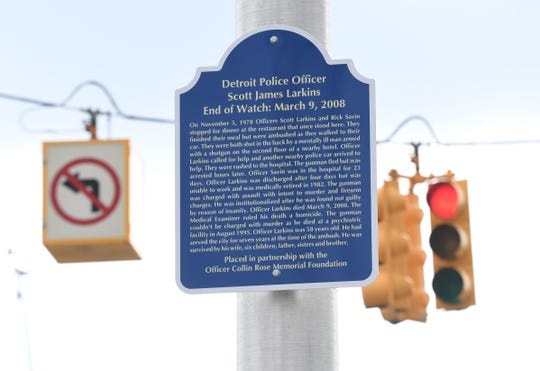 A memorial marker in honor of Detroit Police officer Scott Larkin was placed at East Grand and East Jefferson in Detroit on Saturday, November 2, 2019.