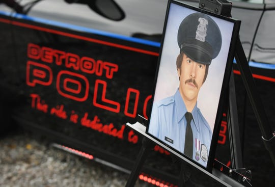 Detroit Police officer Scott Larkin is honored with a marker in Detroit on Saturday, November 2, 2019.