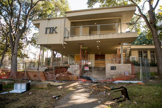 This Thursday, Oct. 31, 2019 photo shows The Pi Kappa Phi house in Austin, Texas.   The University of Texas chapter of the Pi Kappa Phi fraternity has been shut down following a university investigation into hazing allegations, the third such accusation the chapter has faced in eight years.