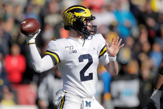 After Michael Barrett pulled off the fake punt, QB Shea Patterson completed a 51-yard pass to Nico Collins.